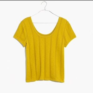 Madewell Pointelle Ribbed Tee in Mustard M